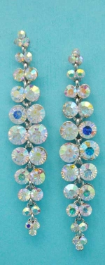 "Aurora Borealis/Silver Two Rows Round Stone 3"" Post Earring"