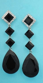 """Jet/Clear Silver Linked Stone Square/Pear 2.5"""" Post Earring"""