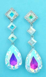 "Aurora Borealis/Silver Linked Stone Square/Pear 2.5"" Post Earring"