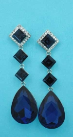 """Montana Navy/Clear Silver Linked Stone Square/Pear 2.5"""" Post Earring"""