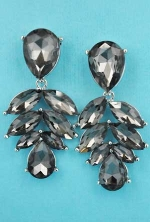 "Black Diamond/Silver Leaf Shape 2"" Marquise Stone Earring"