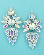"Aurora Borealis/Silver Framed Marquise Stone/Center Round Stone 2"" Post Earring"