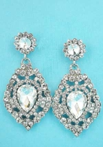 "Clear/Silver Small/Medium Round Stone Center Pear Stone 1.5"" Post Earring"