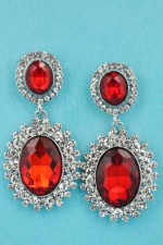 """Light Colorado/Clear Silver Linked Oval Stone Mirror 1.5"""" Post Earring"""