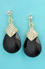 """Jet/Clear Gold Medium Pear Stone Linked Small Round Stone 1.2"""" Post Earring"""