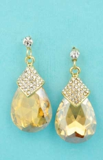 "Light Colorado/Clear Gold Medium Pear Stone Linked Small Round Stone 1.3"" Post Earring"