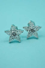 Cubic zirconia Silver Star Shape With Center Stone Clip Earring