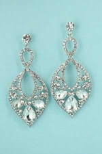 Clear Silver Marquise/Pear Frame Pear/Round Stone Earring