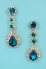 "Blue Zircon/Clear Gold Pearshape 3 Round Stone 1.8"" Earring"