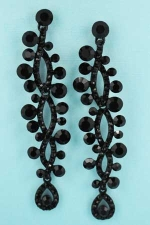"""Jet/ 3"""" 4 Row Marquise Stone Post Earring"""