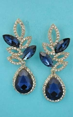 """Montana Navy/Clear gold Pineapple Empty Marquise Shape 2.3"""" Post Earring"""