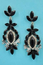 """Jet/Clear Gold Leaf Shape Marquise Stone 2.5"""" Post Earring"""