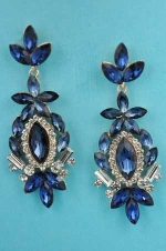 "Montana Navy/Clear Silver Leaf Shape Marquise Stone 2.5"" Post Earring"