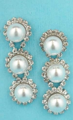 "Pearl/Clear Silver Three Stones 1.3"" Post Earring"