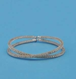 Clear/Rose Gold Two Row Criss Cross Bracelet
