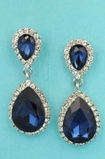 """Montana Navy/Clear Silver Framed Two Pear Shape Linked 1.3"""" Post Earring"""