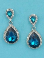 "Blue Zircon/Clear Silver Two Small Pear Stone 1"" Post Earring"