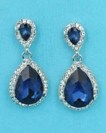 "Montana Navy/Clear Silver Two Small Pear Stone 1"" Earring"