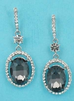 "Black Diamond/Clear Silver Dangling Oval Stone Round 1.5"" Post Earring"