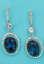 "Montana Navy/Clear Silver Dangling Framed Oval Shape 1.3"" Post Earring"