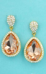 "Light Peach/Clear Gold Small/Big Pear Shape 1"" Dangling Post Earing"