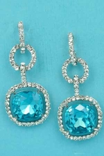 "Aquamarine/Clear Silver 1.5"" Dangling Square Stone Post Earring."