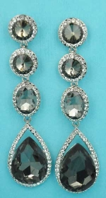 "Black Diamond/Clear Silver Four Linked Stone Round/Pear Shape 3"" Dangling Post Earring"