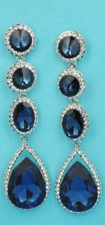 """Clear/Silver Four Linked Stone Round/Pear Shape 3"""" Post Earring"""