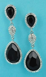 """Jet/Clear Silver Three Linked Stone 2"""" Post Earring"""