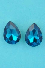 "Blue Zirconia/Gold Pear Shape Single Stone 0.5"" Post Earring"