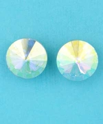 "Aurora Borealis/Gold Round Shape Single Stone 0.3"" Earring"