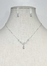 Cubic Zirconia/Silver Thin Chain Flower Shape Set