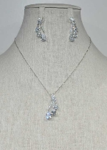 Cubic Zirconia/Silver Three Dangle Teardrop Set