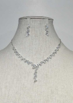 Cubic Zirconia/Silver Thin Chain Leave Shape Set