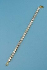 Cubic Zirconia/Gold One Row Ball Stone Bracelet