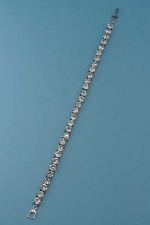 Cubic Zirconia/Silver One Row Ball Stone Bracelet