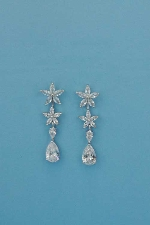Cubic Zirconia/Silver Top Flower Bottom Pear Shape Earring
