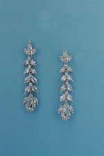 Cubic Zirconia/Silver Branch/Leave Shape Earring