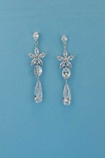 Cubic Zirconia/Silver Top Star Bottom Teardrop Earring