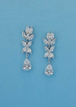 Cubic Zirconia/Silver Top Leaves Bottom Pear Stone Earring