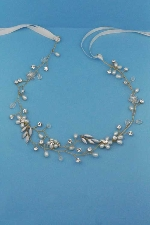 Pearl/Clear Gold Leaves/Flower Headband