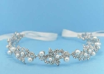 Pearl/Clear Silver Leaves Shape Ivory Lace Headband