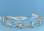 Clear/Silver Leaves Shape Ivory Lace Headband