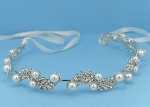 Pearl/Clear Silver Branch Leaves Headband
