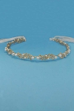 Pearl/CLear Gold Branch/Flower Shape Headband