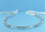 Pearl/Clear Silver Flower Shape White Lace Headband
