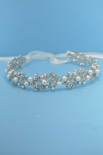 Pearl/Clear Silver White Lace Flower Headband