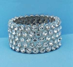 Clear/Silver Multiple Round Stone Five Row Bracelet