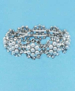 Clear/Silver Medium Flower Round Stone One Row Bracelet