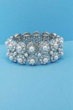 Pearl/Clear Two Row Round Shape/Stone Bracelet